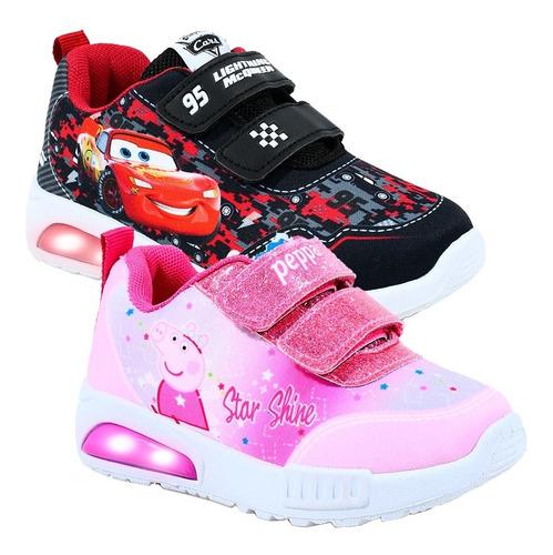 Imagen 1 de 8 de Zapatillas Con Luces Zapatilla Luz Peppa Pig Disney Footy