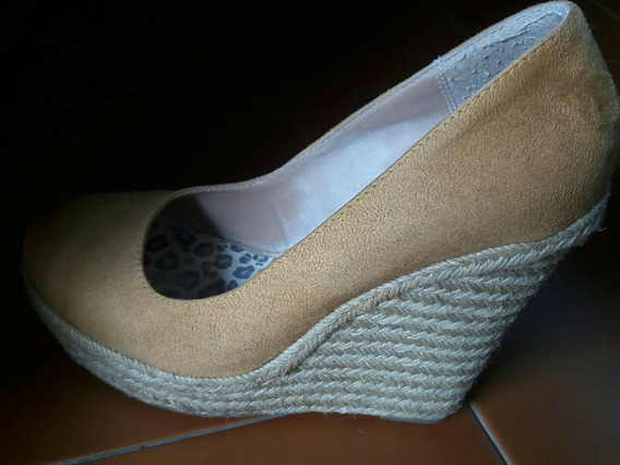 Zapatos Tacón Cuña Mostaza Talla 38