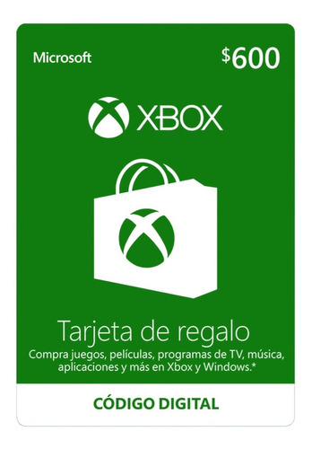 Imagen 1 de 1 de Microsoft Tarjeta De Regalo Xbox $600 Pesos (código Digital)