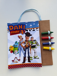 Kit 30 Lembrancinhas Revista Para Colorir + Giz Toystory 4