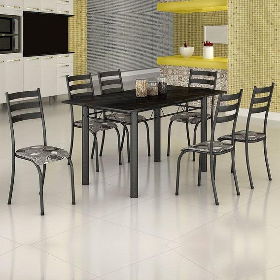 Mesa Itália 6 Cadeiras 591/15 Madmelos Craquelado Dark/folha