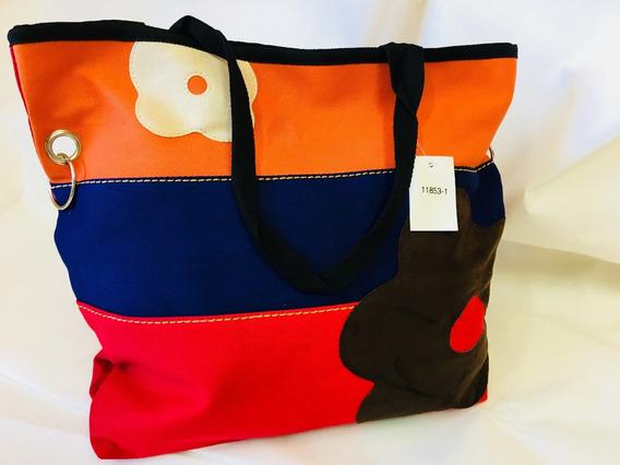 Bolsa Feminina / Colorida Tipo Sacola Com Flores.
