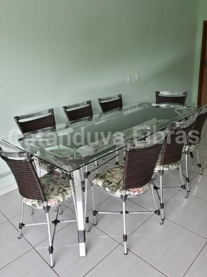 Mesa De Jantar Com 8 Cadeiras De Fibra Sintética Junco Vime