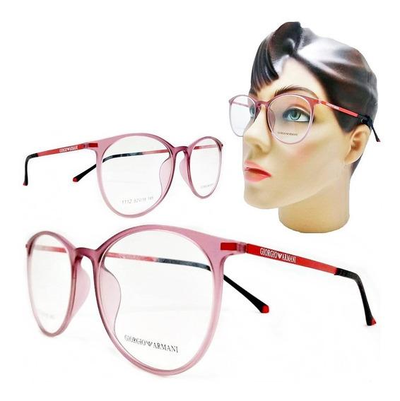 Armação Óculos Grau Feminino Redondo Pequeno Geek Acetato