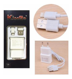 Kit Carregador 2x1 Kingo Para Phone 5, 5s, 6, 6 Plus, 6s, 6s