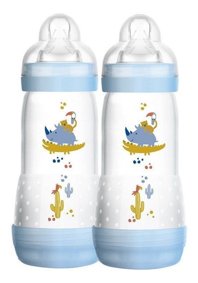 Kit 2 Mamadeiras Mam Azul 4m+ 320ml First Bottle Anticolica