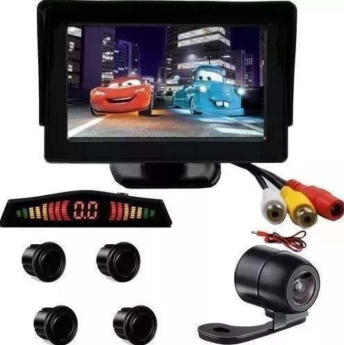 Kit Monitor Fixo + Sensor Preto E Câmera Borboleta Gol G4