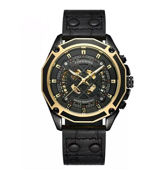 Relógio Masculino Mecânico Automático Pulseira Couro Genuíno