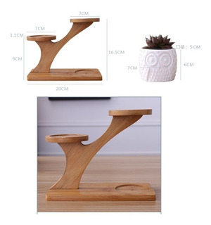 Set De 3 Macetas De Ceramica + Base De Bambú