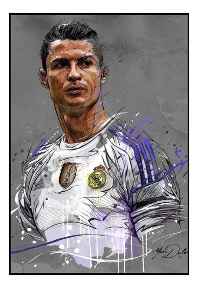 Quadro Decorativo Cr7 Arte Cristiano Ronaldo 42x29cm