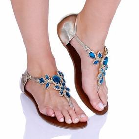 Rasteira Rasteirinha Feminina Pedras Sandália Rosa Shoes 04
