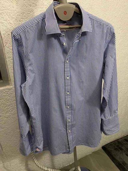 Camisa De Vestir Azul Thomas Pink Puño Francés