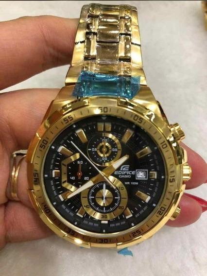 Relógio Hx006b Casio Edifice Ef539d Preto Banhado Ouro 18k