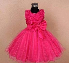 Vestido Infantil Festa Princesa Daminha Laço Barbie Rosa