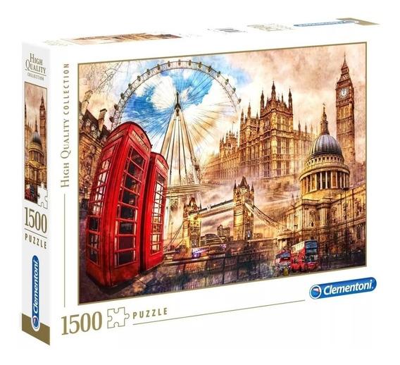 Puzzle Clementoni 1500pzas Vintage London Colores En Fuga