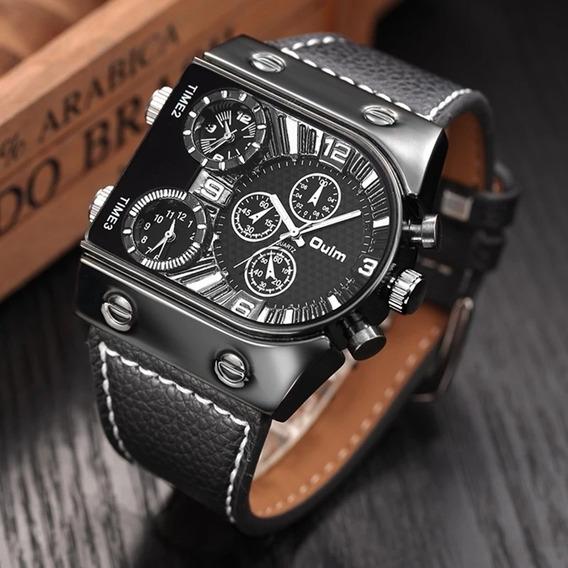 Relógio Masculino Oulm Original Cx De Aço, Pulseira Couro