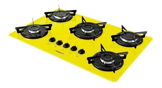 Fogão cooktop a gás Fogatti V500X amarelo 110V/220V