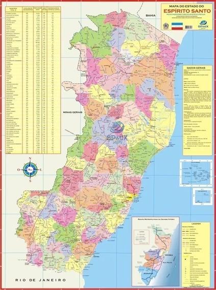 Mapa Estado Do Espírito Santo 120 X 90cm
