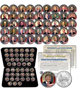 Presidentes De Usa Pintados A Mano En Monedas De Usd 0,25