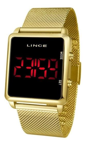 Relogio Lince Unissex Mdg4596l Pxkx Digital Dourado Quadrado