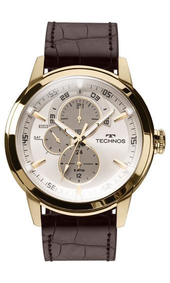 Relógio Technos Masculino Grandtech 6p57ac/2c Dourado Couro