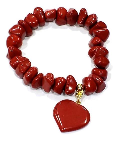 Pulseira De Jaspe Vermelho Pedra Natural Para Boas Energias