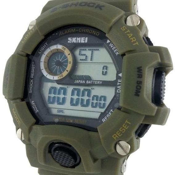 Relógio De Pulso Masculino Aprova Dagua Skmei S-shock Sport Militar Verde Digital Resistente Natação Surf