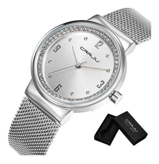 Relógio Feminino Crrju 2122 Aço Inox Fino Estiloso Estojo