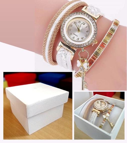 Pulseira Luxúria Branca Com Relógio Quartz + Caixinha Mdf