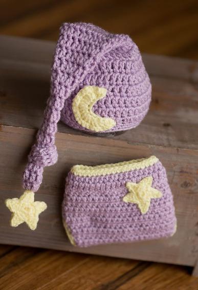 Gorrito Y Cubre Pañal Para Bebes Star Moon Copo De Azucar