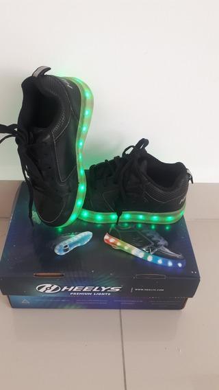 Patínes Heelys Negro Con Luz Led Recargables T 19