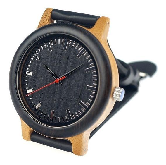 Relógio Unissex Bambu Madeira Black Bobo Bird M13