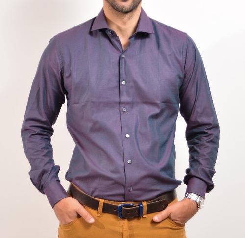 Imagen 1 de 2 de Camisa De Vestir Slim Fit Asombrus Hombres Altos