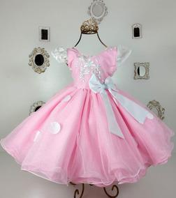 Vestido Infantil Festa Batizado Aniversario Rosa Bebe