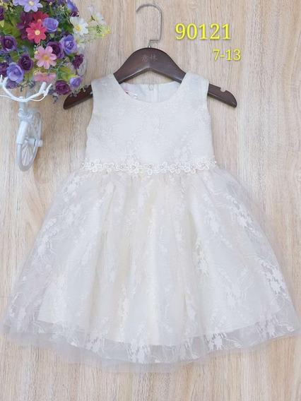 Vestido Fiesta Importado De Nena Encaje Bordado