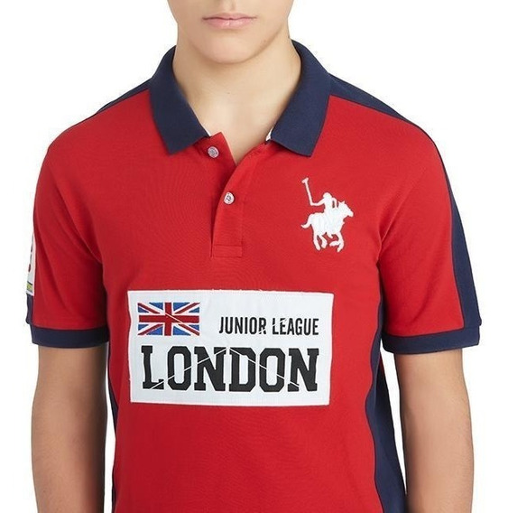 Playera London York Polo Club Roja Juvenil