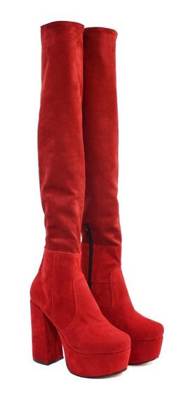 Bucaneras Botas Elastizadas Rojas Moda Talo Palo Plataforma