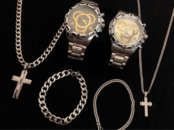2 Relógios Masculino+2 Corrente+2 Pingente+2 Pulseira Prata