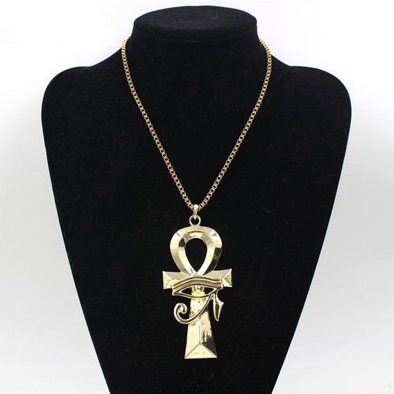 Colar Pingente Olho De Horus Egípcio Cruz Ouro Corrente