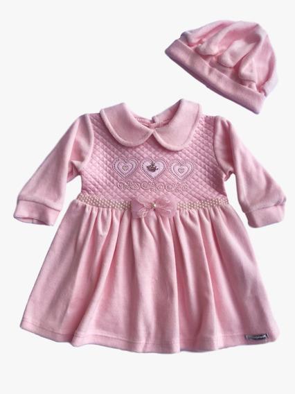 Vestido De Plush Mg Longa Com Pala De Matelassê Enxoval Bebê