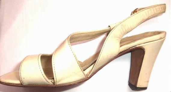 Sandalias Zapatos No Plataforma De Verano Beige Cuero Tacon