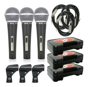Kit 3 Microfones Arcano Renius-8 Com Cabo Xlr-xlr 4,5m