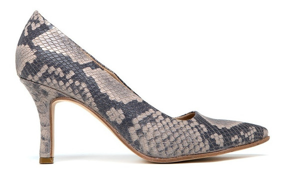 Zapato Stileto De Cuero Clásico Taco Bajo Punta Fina Cómodo