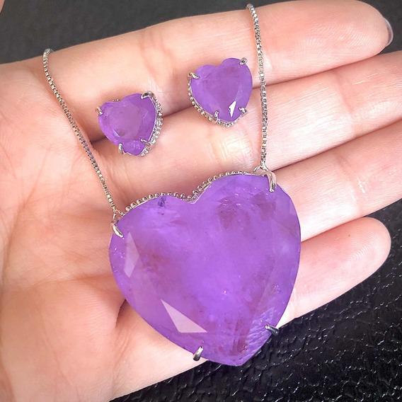 Conjunto Luxo Colar Brinco Coração G Fusion Violeta Semijoia