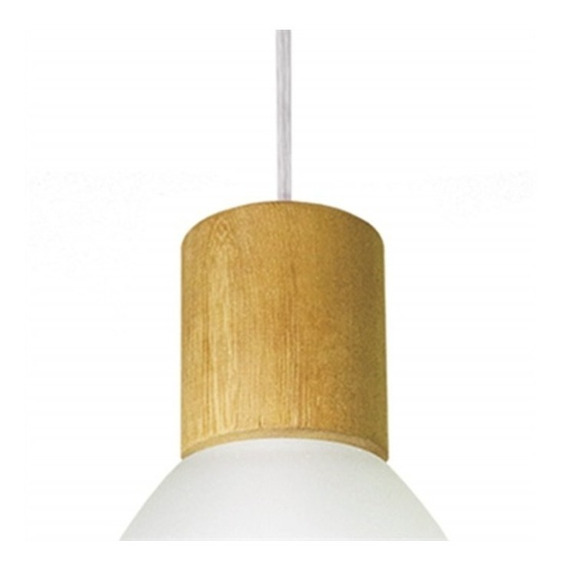 Pendente Em Vidro Para 1 Lâmpada Anello Wood Branco