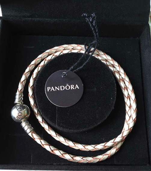 Pandora Pulsera Piel Champagne Original Con Ticket