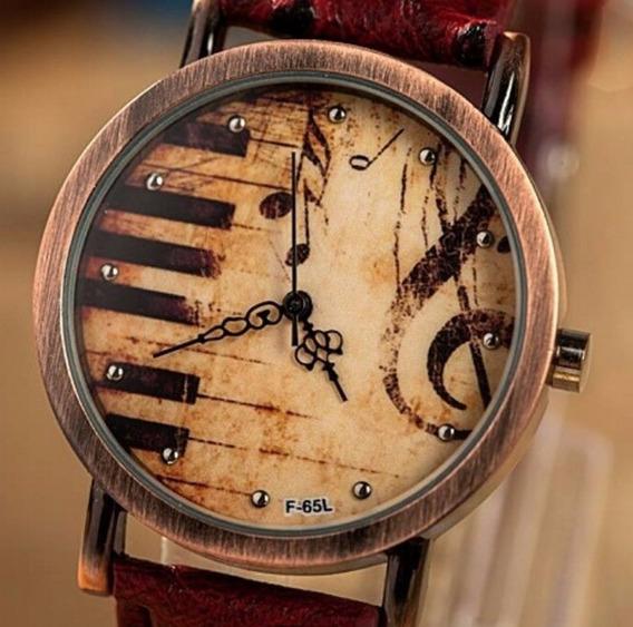 Relógio Musical Pulseira Couro Avestruz Vintage Teclas Piano