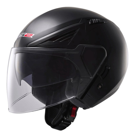 Capacete Ls2 Of586 Bishop Monocolor Preto Fosco Rs1