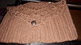Clutch Bag Crua E Marrom Bolsa De Mao De Croche