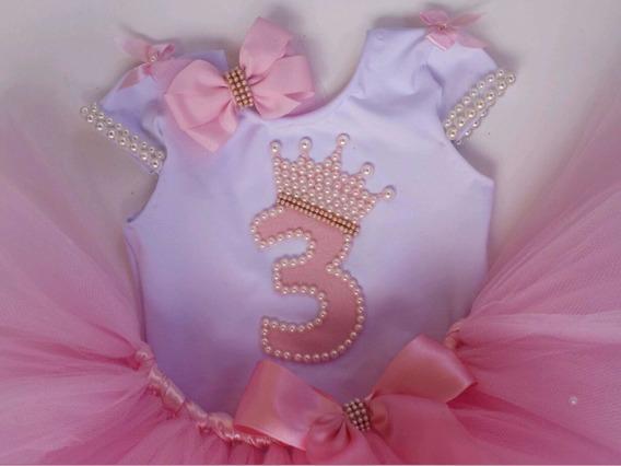 Bailarina Conjunto Body Tutu Aniversário Mesversario Luxo